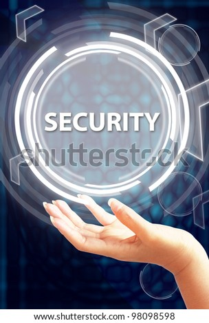security button on hand - stock photo