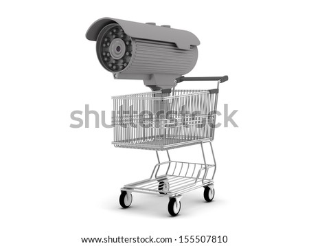 Security camera and shopping cart - stock photo