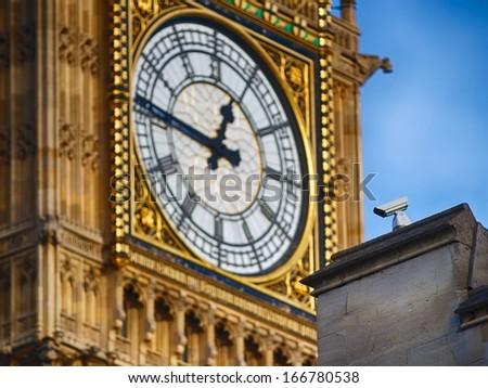 Security camera at Westminster - parliament watching Big Ben - stock photo