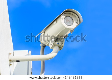 Security Camera, CCTV against blue sky