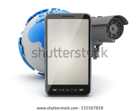 Security camera, cell phone and earth globe - stock photo