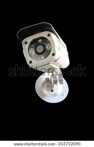 Security Camera isolate on black background - stock photo
