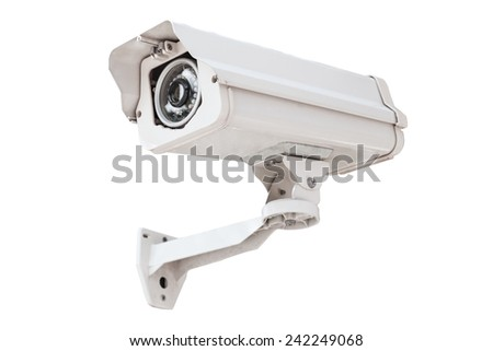 security camera isolated on a white background. - stock photo