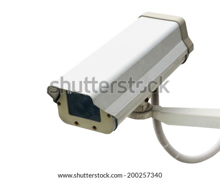 Security camera isolated on white - stock photo