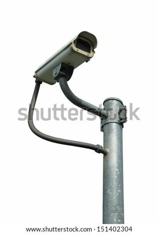 Security camera isolated on white background - stock photo