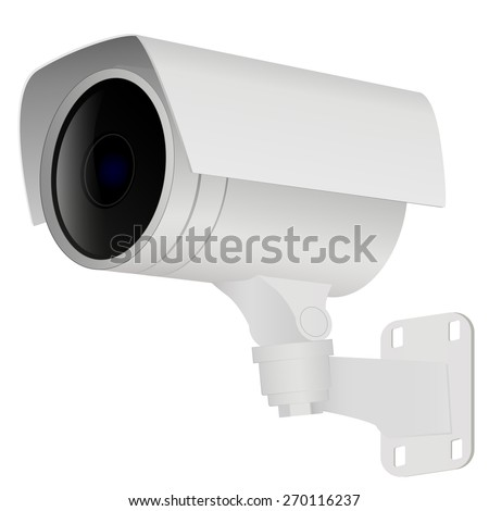 Security camera. isolated on white. Raster version