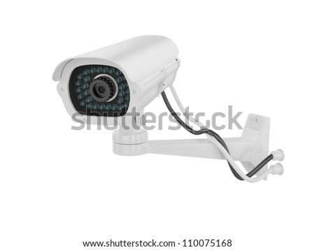 Security camera on a white background, 3D image - stock photo