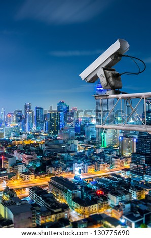 Security camera  on Skyscraper rooftop. security concept - stock photo