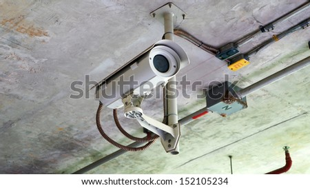 Security camera on the ceil - stock photo