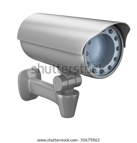 security camera on white background. Isolated 3D image - stock photo