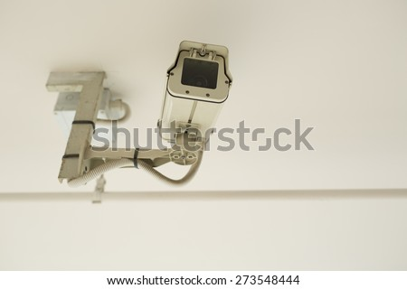 Security Camera or CCTV at car park - stock photo