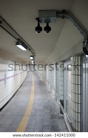 Security Camera or CCTV at tunnel - stock photo