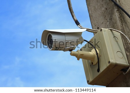 Security Camera or CCTV on blue sky