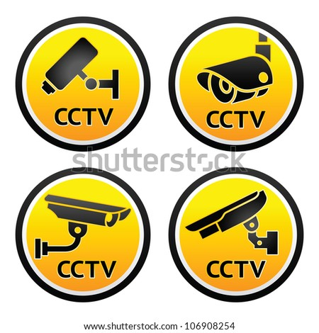 Security camera pictogram, set CCTV round signs - stock photo