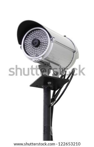 Security camera pole isolated on white background. - stock photo