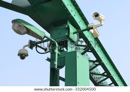 Security  camera video record system on bridge