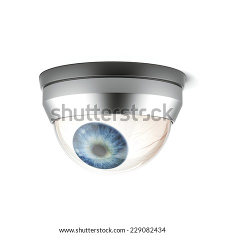 security camera with blue eye  - stock photo