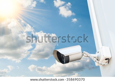 Security cameras for the safety and blue sky - stock photo