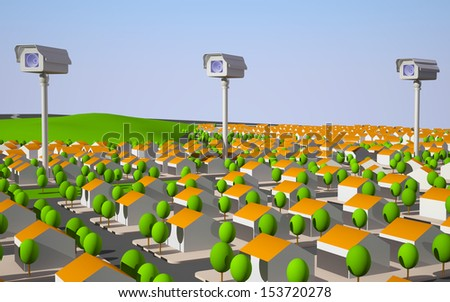 Security cameras on houses. 3D image - stock photo