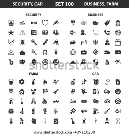 Security,car set 100 black simple icons.Business, farm icon design for web and mobile device.