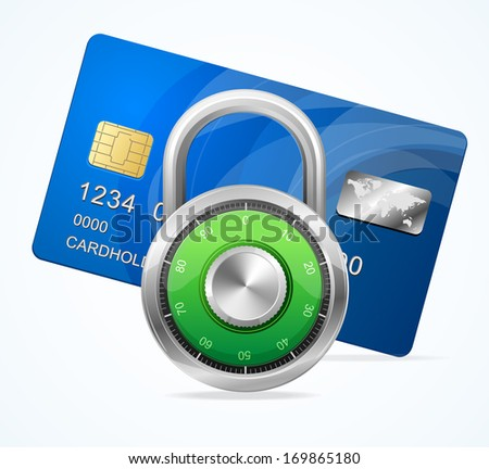 Security Card Concept.  padlock - stock photo