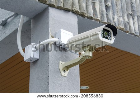 Security CCTV camera and urban video.