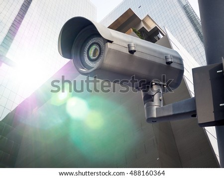Security CCTV camera in office building installed outdoor