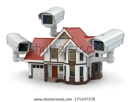 Security CCTV camera on the house. 3d - stock photo