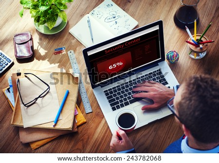Security Center Digital Device Internet Wireless Searching Concept - stock photo