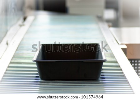 security check of hand luggage - stock photo