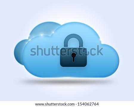 Security cloud computing concept with padlock - stock photo