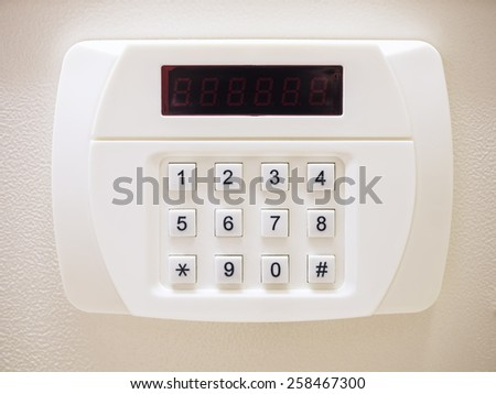 Security code button of Safe box with Electronic lock system - stock photo