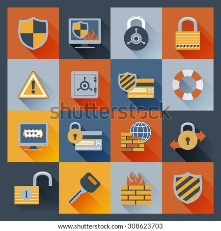 Security computer network data safe flat icons set with firewall monitor padlock elements isolated  illustration