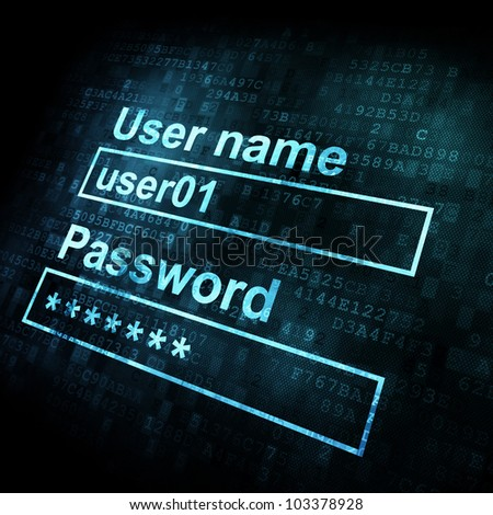 Security conceprt: Login form on digital sreen, 3d render - stock photo