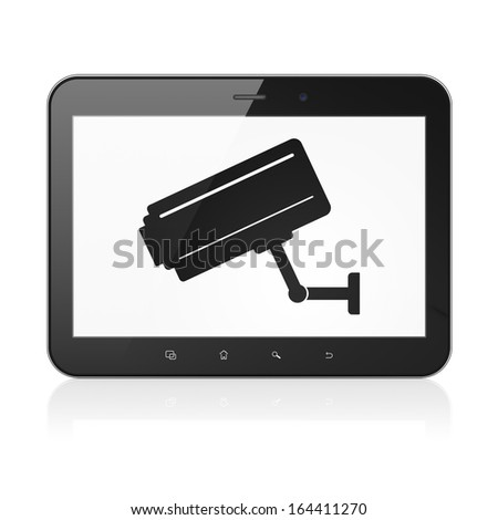 Security concept: black tablet pc computer with Cctv Camera icon on display. Modern portable touch pad on White background, 3d render - stock photo