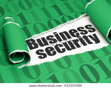 Security concept: black text Business Security under the curled piece of Green torn paper with  Binary Code, 3D rendering - stock photo