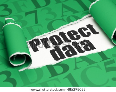 Security concept: black text Protect Data under the curled piece of Green torn paper with  Hexadecimal Code, 3D rendering