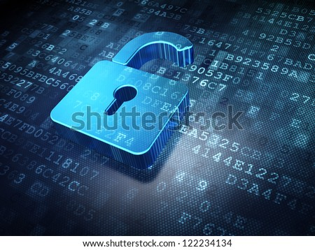 Security concept: blue opened lock on digital data background. Illustrates information systems security and data privacy. 3d render. - stock photo