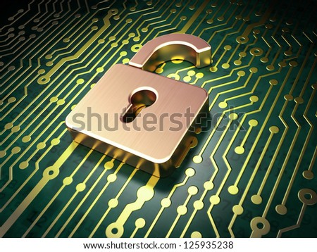 Security concept: circuit board with Opened Padlock icon, 3d render - stock photo