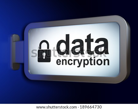 Security concept: Data Encryption and Closed Padlock on advertising billboard background, 3d render - stock photo
