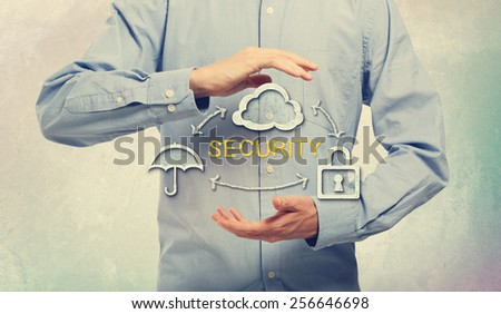 Security Concept Design Using Umbrella, Cloud and Lock, with Arrows, Between Human Hands on an Light Blue Background - stock photo