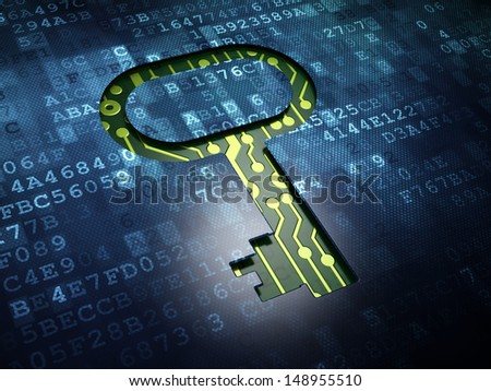 Security concept: digital screen with icon Key, 3d render - stock photo