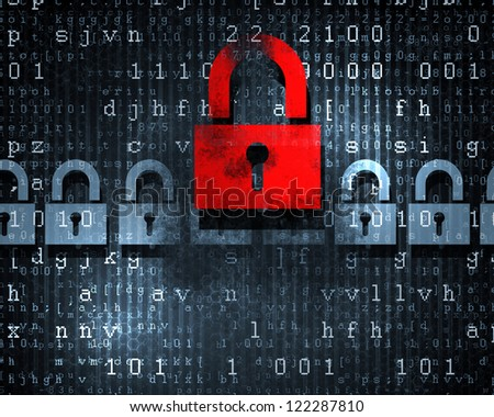 Security concept: Lock on digital screen, illustration - stock photo