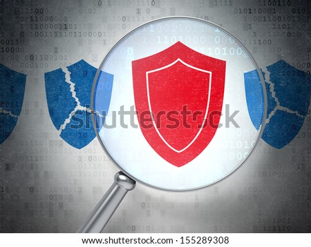 Security concept: magnifying optical glass with Shield icons on digital background, 3d render - stock photo