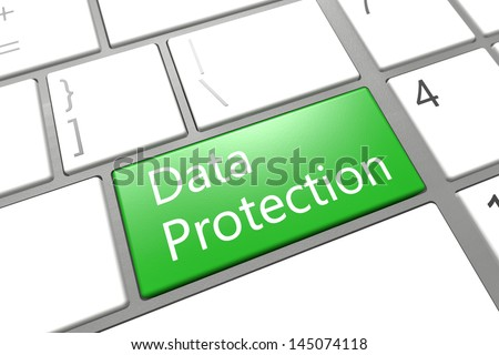 Security Concept: modern keyboard with a green Data Protection key - stock photo
