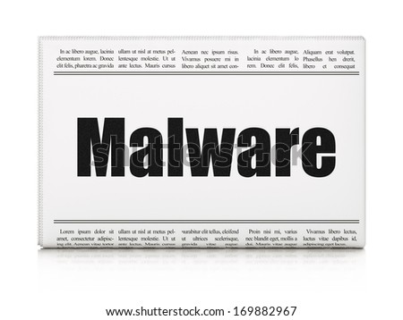 Security concept: newspaper headline Malware on White background, 3d render