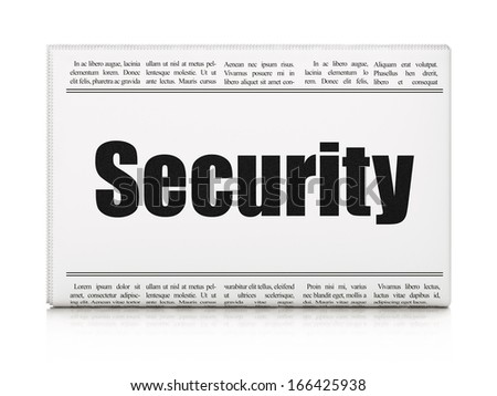 Security concept: newspaper headline Security on White background, 3d render