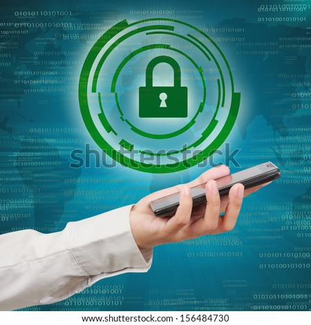 Security concept of mobile network. Modern mobile phone in a  business hand. - stock photo