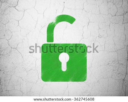 Security concept: Opened Padlock on wall background - stock photo