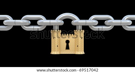 Security concept. Padlock as fortress and chain isolated on black - stock photo